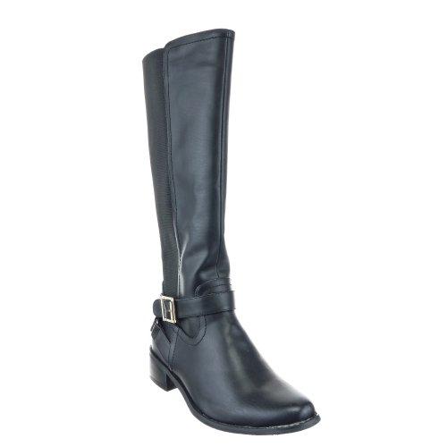 Sopily - Chaussure Mode Botte Cavalier - Motard Genoux femmes boucle Talon bloc 4 CM - Intérieur textile - Noir