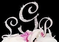 (Rhinestone Crystal Covered Monogram Initial Letter Wedding Cake Topper Set -by# diamondpartyconfetti (#ATOE58350721982280)