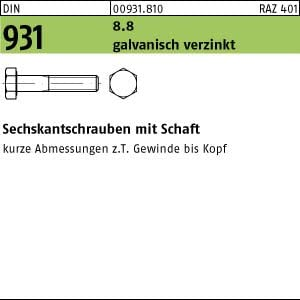 50 Sechskantschrauben DIN 931 8.8 verzinkt M10x130