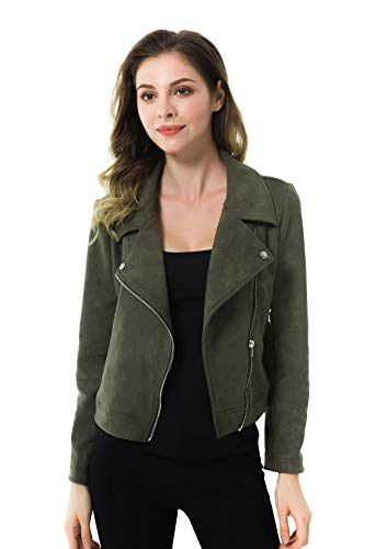 Apperloth Women's Faux Suede Biker Jacket Slim Short Coat Zipper Moto Autumn Jackets