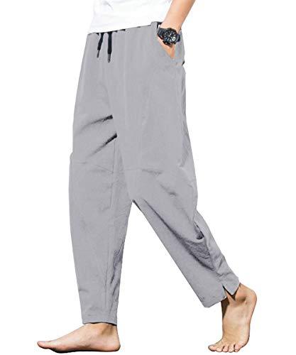 PERDONTOO Men's Linen Cotton Loose Fit Casual Lightweight Elastic Waist Summer Pants