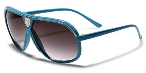 Khan Men's Women's Flat Top Aviator Retro 80s Vintage Fashion Designer - Turquoise Aviator Sunglasses