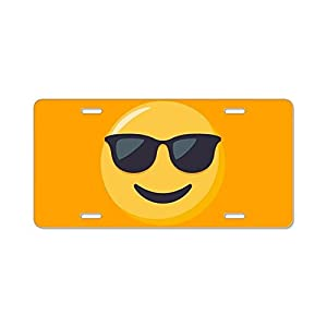 CafePress - Sunglasses Emoji - Aluminum License Plate, Front License Plate, Vanity Tag