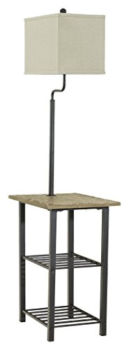(Ashley Furniture Signature Design - Shianne Metal Tray Lamp - Floor Lamp End Table - Black)