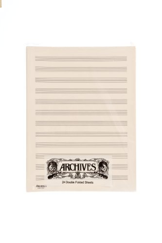 Archives Double-Folded Manuscript Paper Sheets, 12 stave, 24 Sheets - Sibelius General Music Pack