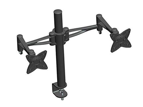 Monoprice 3-Way Adjustable Tilting DUAL Desk Mount Bracket for LCD LED (Max 33Lbs, 10~23inch) - Black