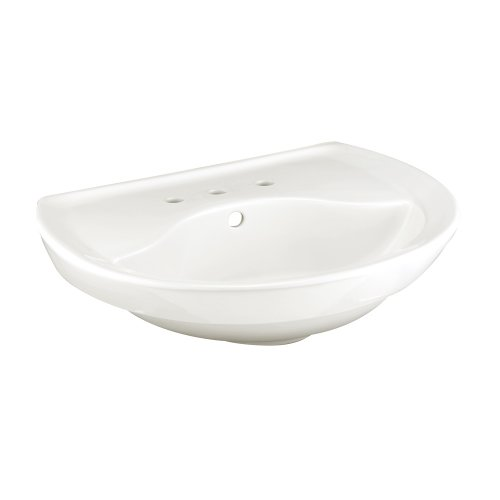 (American Standard 0268.008.020 Ravenna Pedestal Sink Basin with 8-Inch Faucet Spacing and without Towel Bar, White)