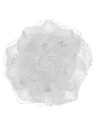- NYFASHION101 Women's Multifunction Rose Flower Sheer Petal Brooch Pin Hair Tie Clip, White