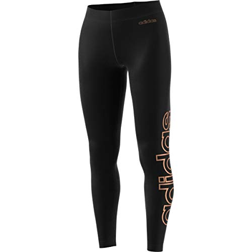 adidas Women's Essentials Linear Tights (Black/Copper Metallic, X-Small)