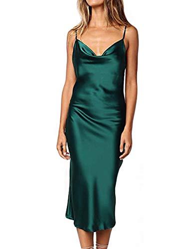 - Women Silk Satin Sleeveless Camisole Dress Sexy Satin Dot V Neck Cold Shoulder Backless Slim Chemise Nightdress Green