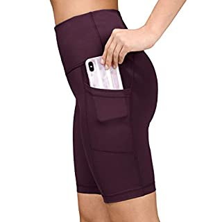 "Yogalicious High Waist Squat Proof 9"" Biker Shorts with Side Pockets for Women"