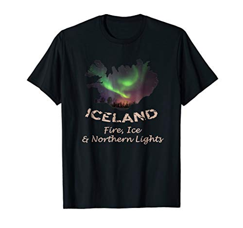 Iceland - Fire Ice & Northern Lights Aurora T-shirt Tee