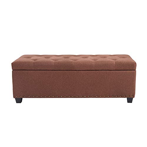 Storage Hide Lift And Chest (NB Liner Rectangular Accent Storage Fabric Ottoman Bench Chest with Tufted Lift Top,Bedroom Furniture, Brown)