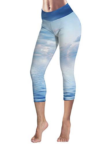 (EZON-CH Stretch & Soft 3/4 Women Work Out Yoga Pant for Girls,Sea and Sky Scenery Tummy Control Leggings Size XXL)