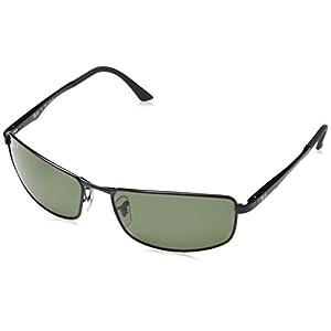 Ray-Ban Men's 0rb3498 Polarized Rectangular Sunglasses, Matte Black, 61 mm