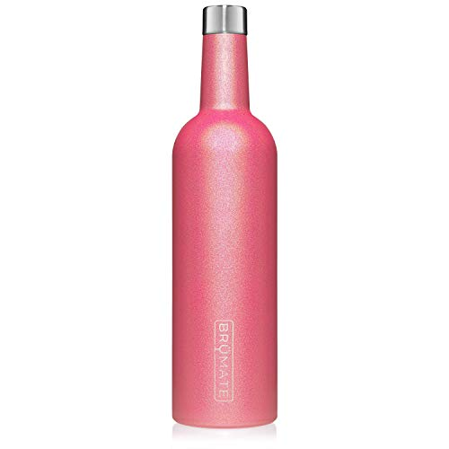 - BrüMate Winesulator 25 Oz Triple-Walled Insulated Wine Canteen Made Of Stainless Steel, 24-hour Temperature Retention, Shatterproof, Comes With Matching Silicone Funnel (Glitter Neon Pink)