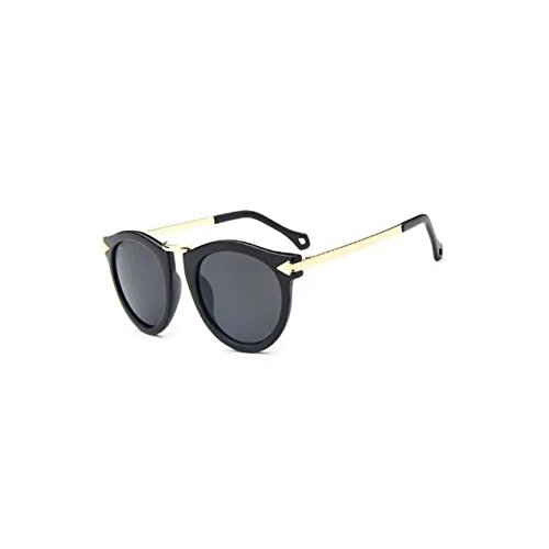 Garrelett Retro Classic Metal Arrow Sunglasses Reflective Sun Eyewear Eyeglasses Black Frame Gray Lens for Girls - Adjusting Frames Eyeglass Plastic