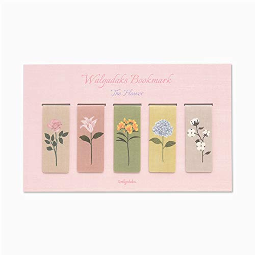 Monolike Magnetic Bookmarks The Flower, Set of 5 (Magnetic Flower Bookmarks)
