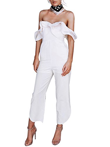 Simplee Women Sexy Off Shoulder Ruffle Backless High Waist Jumpsuit Rompers