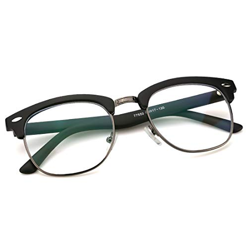 8483edd337 Mimoeye Retro TR90 Semi Rimless Glasses Anti Blue Light Computer Gaming  Eyewear for Unisex