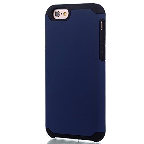 """Hülle Cover iPhone 6 / 6S, IJIA Ultra Dünnen Weich TPU und Harte PC (2 in 1) Silikon Hülle Handyhüllen Schutzhülle Handyhülle Schale Case Tasche für Apple iPhone 6 / 6S 4.7"""" + 24K Gold Aufkleber (Blau"""