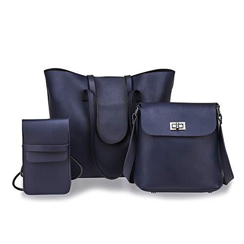 XUAILI Dam snygg vattentät cross-body minikåsar 3 i 1 enkel modetrend vardaglig PU axelväska damhandväska messengerväska, lämplig för damer utgående shopping resor (färg: Grå) BLÅ
