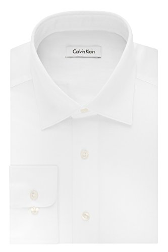 Calvin Klein Men's Regular Fit Stretch Solid Spread Collar Dress Shirt, White, (Calvin Cotton Dress Shirt)