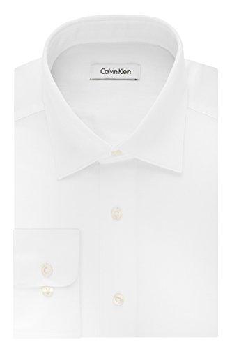 Calvin Klein Men's Regular Fit Stretch Solid Spread Collar Dress Shirt, White, Medium