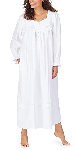 Eileen West Cotton Flannel with Embroidery Long Sleeve Ballet Nightgown White/White Embroidery MD (Eileen Flannel West Gowns)