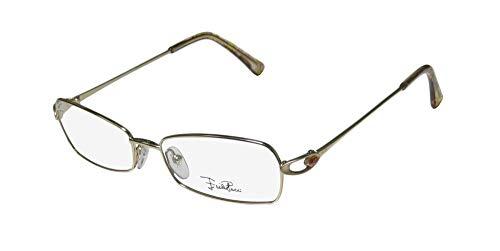 Emilio Pucci 2113r Womens/Ladies Designer Full-rim Eyeglasses/Eye Glasses (52-16-130, Shiny Gold) (Gold-designer-brille)