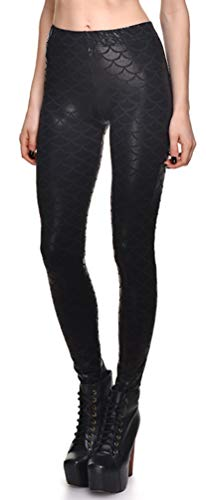 Black Scale - Jescakoo Digital Print Mermaid Fish Scale Shiny Leggings for Women Black 4XL