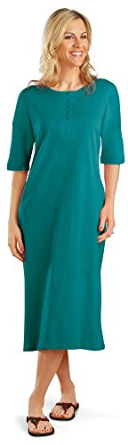 Women's Jewel Toned Cotton Henley Nightshirt, Jade, Plus-Size, Machine Washable, Cotton