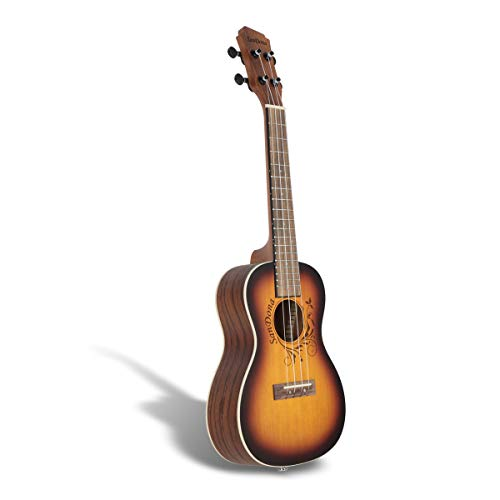 SANDONA Acoustic Electric Concert Ukulele EQ 24 Inch Kit eUKCB-141 | Spruce Solid Wood | Under-Saddle Piezo Bridge Pickup, Strap, Aquila Strings, Digital Tuner and Gig bag (Mocha) by SanDona