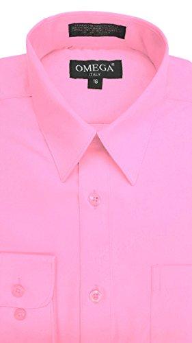 OmegaTux Boys Long Sleeve Solid Color Dress Shirts (Dress Mandarin Pink Collar)