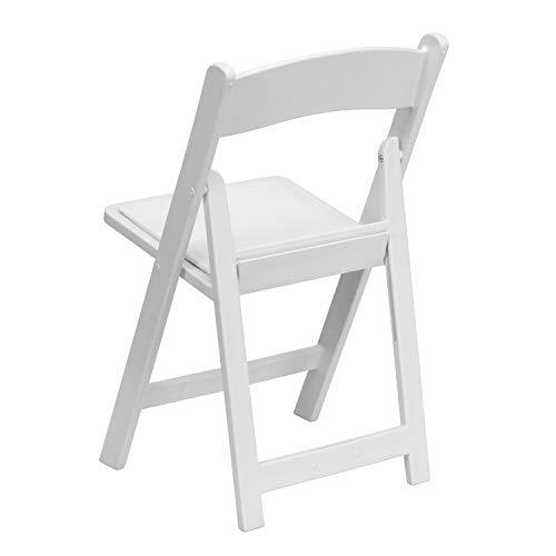 4 Pk. HERCULES 1000 lb. Capacity White Resin Folding Chair with White Vinyl Padded Seat