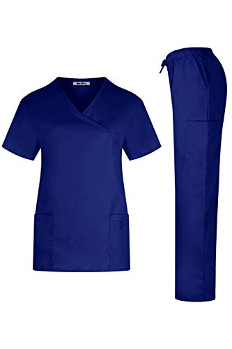 MedPro Women's Solid Medical Scrub Set Tie Back Wrap Top and Pants Royal Blue L