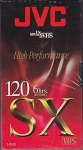 JVC T-120 SX 6 Hour VHS Cassette Tape - Blank - 4 pack by JVC