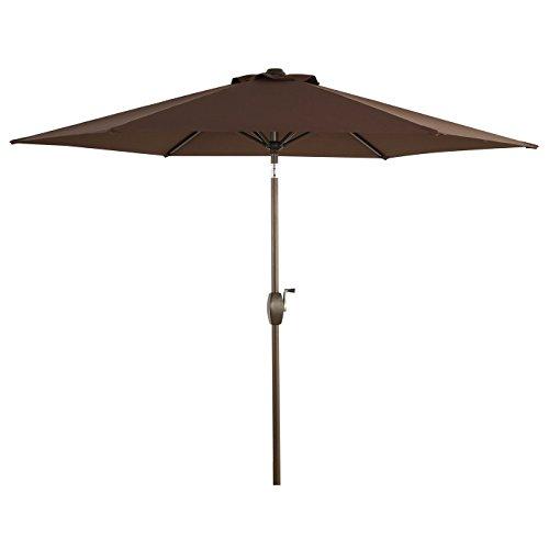 Ulax furniture Patio 9 Ft Market Outdooor Aluminum Umbrella, Tilt W/Crank, 100% Polyester, Chocolate