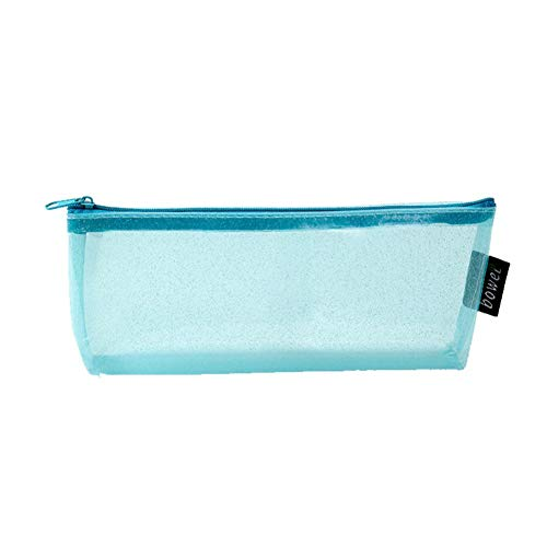 KFSO Pencil Bag,Colorful Transparent Stationery Pen Case Zipper Cosmetic Bag Travel Makeup Bag High Capacity (Sky Blue)