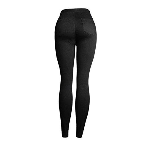 Vaqueros Push Mezclilla Leggings Mujer Rosa imprimir Longra Bordado Jeans Up Flacos Pantalones Alta Negro Elástico Cintura a67BfxwqBv