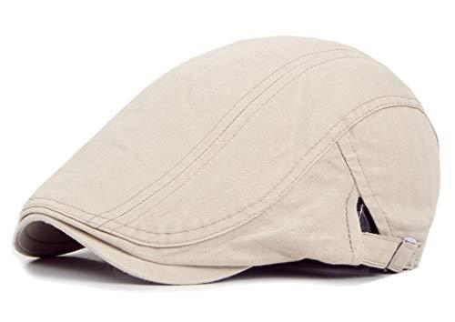 Mens Solid Beret Hat Plain Cabbie Classic Newsboy Flat Ivy Cap Beige