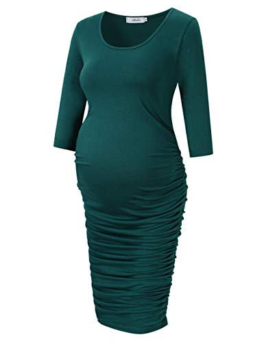 Coolmee MissQee Ruched Maternity Dress Round Neck Maternity Dress 3/4 Sleeve Maternity Dresses (L, Dark Green)