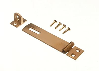 SECURITY HASP AND STAPLE FOR PAD LOCKS BRASS 75MM WITH SCREWS ( pack of 4 )