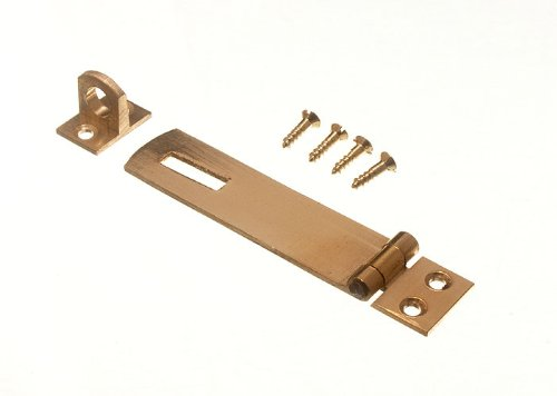 SECURITY HASP AND STAPLE FOR PAD LOCKS BRASS 75MM WITH SCREWS ( pack of 2 ) onestopdiy.com