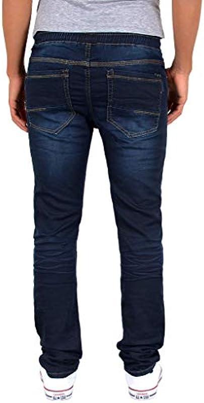 ESRA męskie dżinsy spodnie Slim Fit spodnie jeansowe z gumowym ściągaczem, do joggingu, A393: Odzież