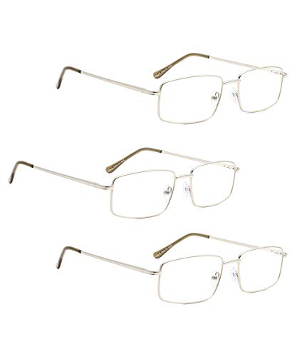 (READING GLASSES 3 pack Large Metal Readers for Men (Silver, 1.00))
