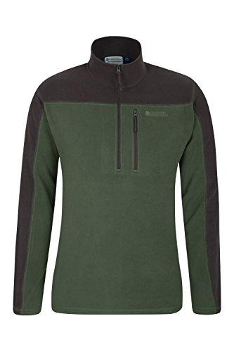 Mountain Warehouse Argyle Mens Half Zip Fleece Top   Fast Dry Jacket Khaki Medium