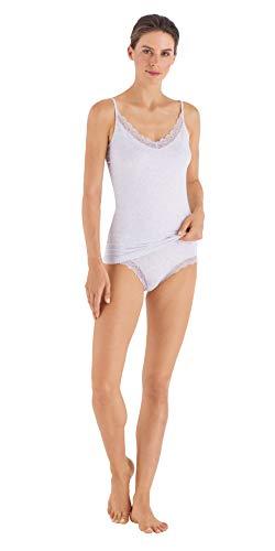 HANRO Women's Cotton Lace Spaghetti Camisole, Ceramic Melange X-Small