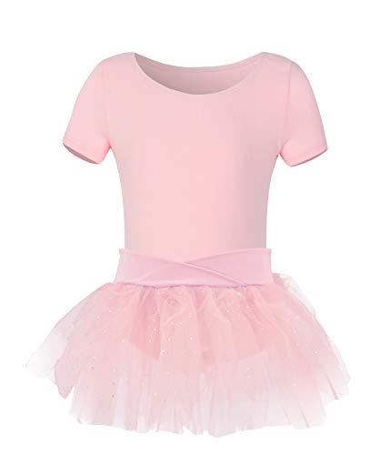 YEEIC Girls Short Sleeve Ballet Leotards for with Skirt Kids Tutu Dresses (Short-Pink, 4-6) ()