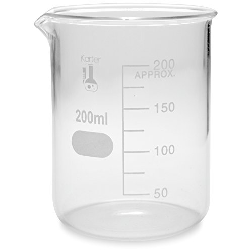 200ml Beaker, Low Form Griffin, Borosilicate 3.3 Glass, with Spout & Printed Graduations, Karter Scientific 232Q4
